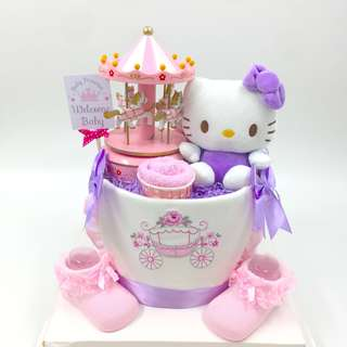 Hello Kitty With Musical Carousel Diapers Cake