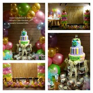 Debut Package: 3-Layer Cake & Giveaway Cupcake Tower with Balloon Arrangement (design could be modified based on party theme)