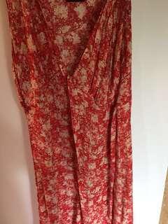 Red V Neck floral dress