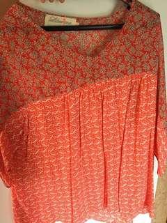 Orange vibrant top size 16