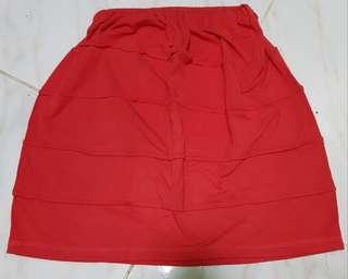 Red Orange Hip-hugging Casual Skirt