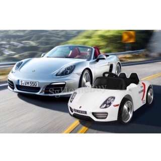 In-stock - big white electric car Porche for kids