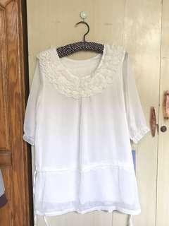 🚚 白色短袖襯衫(只下水冼過)全帶只要300元