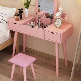Pink Vanity Set (Table & Stool)