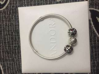 Authentic Pandora Bracelet size 17 with 2 Charm
