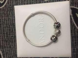 Authentic Pandora Bracelet size 17 with 2 Charm