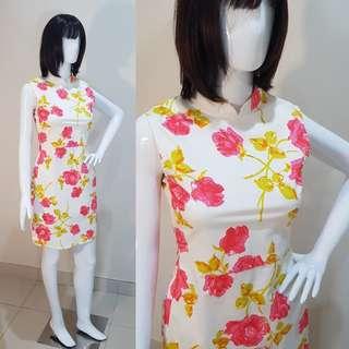 White Flowery Slim Cheongsam Dress