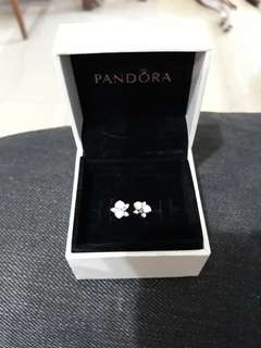 Authentic, new Pandora white orchid earrings