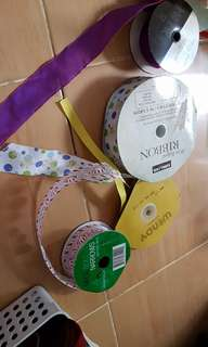 rolls of various ribbons