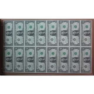 16 in 1 USD $1 UNCUT Note housed in acrylic presentation folder