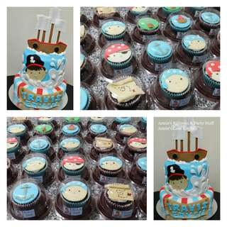Pirate Theme 2-Layer Cake and 20 Cupcakes in Giveaway Containers