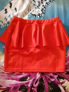 New orange peplum skirt