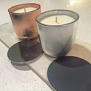 Silver Or Copper Pink Ribbed Soy Candle