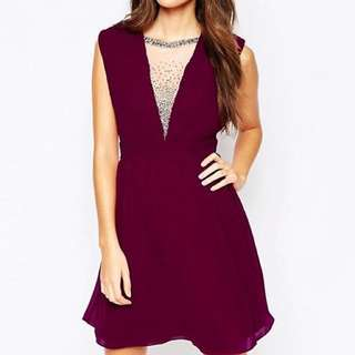 Little Mistress maroon pleated dress with beads