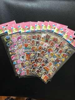 (Bundles of 10 sheets) kids stickers-3D