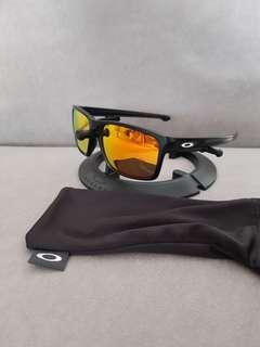 Oakley custom sliver polished black frame fire iridium lens non-polarized