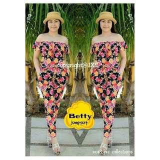 Women Ladies Fashionable Trendy Floral Off Shoulder Betty Jumpsuit
