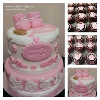 Baptismal Party Package for Baby Girl: 2-Layer Cake & 20 Cupcakes in Giveaway Containers