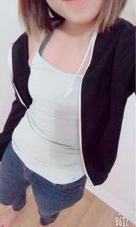 Black jacket with white zip