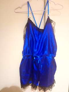 Royal Blue Silk Babydoll Playsuit