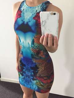 Coral Reef Patterned Bodycon Dress