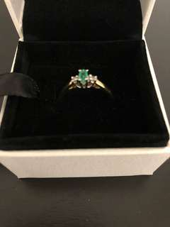 Authentic 10K Gold Emerald and Diamond Ring