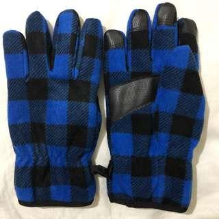 Uniqlo Plaid HEATTECH Lining Gloves - BLUE