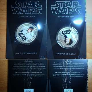 Star Wars Collectable Coins 2011 Luke & Leia