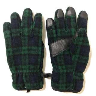 Uniqlo Plaid HEATTECH Lining Gloves - GREEN