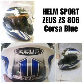 Helm Full Face Zeus ZS-806 Corsa blue
