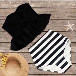 Black/Stripes high waist Swimsuit