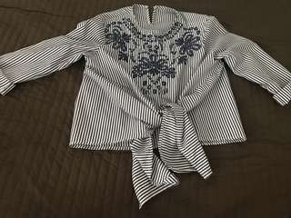 Strip embroidery top
