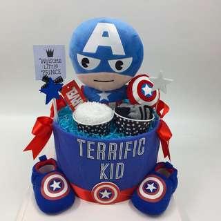 Captain America / hulk Plushie Diaper cake