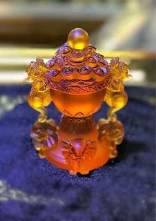 Liu Li  fortune up up 琉璃向上拱财 13cm high bottom diameter 6.5