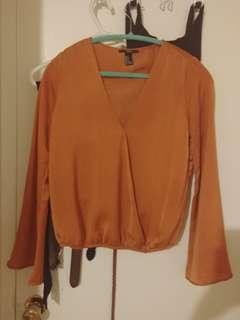 Low cut orange blouse (Forever 21)