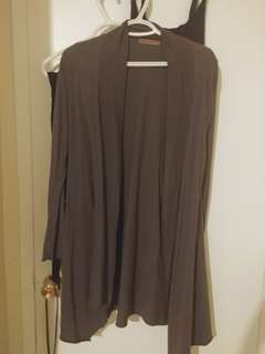 Dark grey loose fit long cardigan
