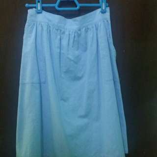 Baby Blue Skirt with Pockets