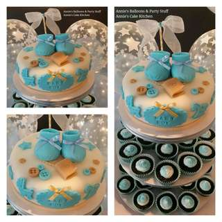 Baptismal Party 1-Layer Cake & 40 Pieces Cupcake Tower with Bubble Balloons for Baby Boy