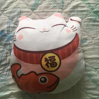 Brand New White and Pink Fortune Cat Big Cushion