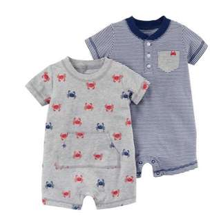 *9M* Brand New Carter's Snap Up Cotton Romper For Baby Boy