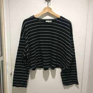 OAK AND FORT cropped striped sweater