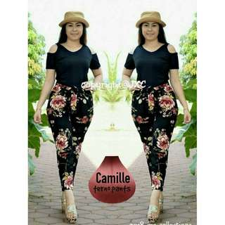 Women Ladies 349Fashionable Trendy Floral Print Camille Terno Top Pants