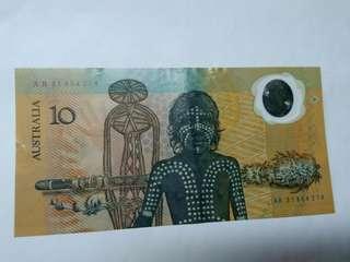 世界第一枚塑膠鈔(澳洲移民200週年紀念鈔)1988年拾圓AB31854214