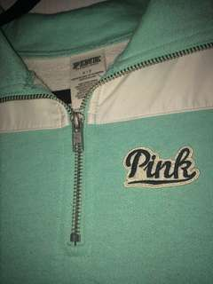 Pink by Victoria Secret crewneck sweater sweatshirt zip up neck