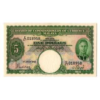 1941 Malaya King George VI $5 banknote 018958