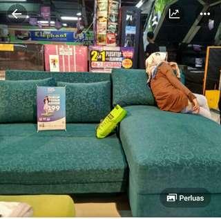 Promo tanpa dp sofa L bed hijau hanya bayar admin 199 rb