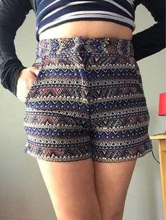 High waisted aztec style shorts