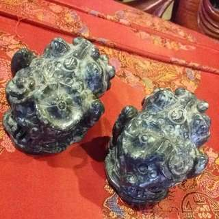 Vintage  Stone Lucky Feng Shui Frog A Pair