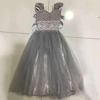Grey Polka Tulle Dress 2-4yrs