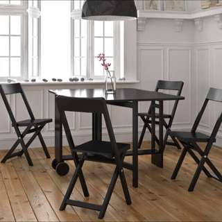 4 Seater Black Kitchen Dining Butterfly Table Setting Foldable Chairs And Table / Study Desk